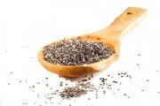 Chia Salba seeds in wooden spoon are rich in viscous fiber