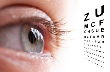 Close up of an eye and vision test chart. Protect your eyes against vision loss