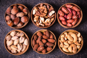 Variety of nuts in bowls
