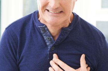 Heart attack risk: Man having a heart attack chest pain
