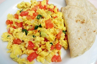 Curried Scrambled Eggs on a plate