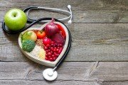Heart made from healthy fruits and vegetables