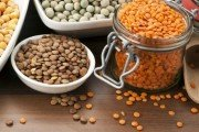 Folic acid rich lentils in dishes on table