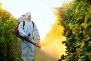 Pesticide sprayed on crops