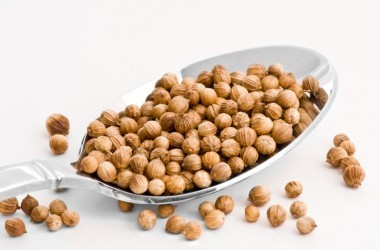 Spoonful of coriander seeds on white background