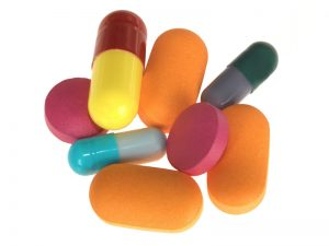 Colorful prescription drug pills