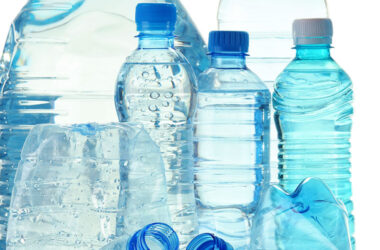 Plastic water bottles many of which contain PFAS chemicals