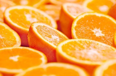 Close up of sliced orange halves