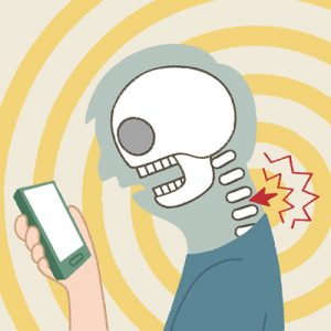 Illustration of text neck a skeleton looking at cell phone has a pain in his neck