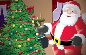 Santa Claus next to a Christmas tree screenshot from Twas the Night Before Christmas video