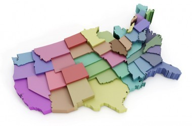 Illustration of the United States with states in different colors