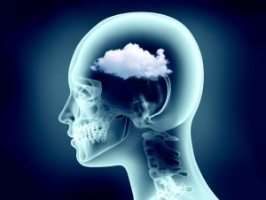 Brain fog illustration x-ray image of human head with cloud