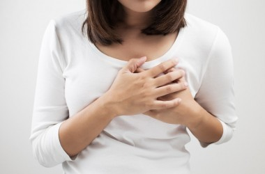 Woman having breast pain