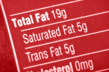 Nutritional label with focus on trans fat and saturated fat.
