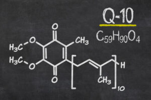 Blackboard with the chemical formula of coenzyme q10