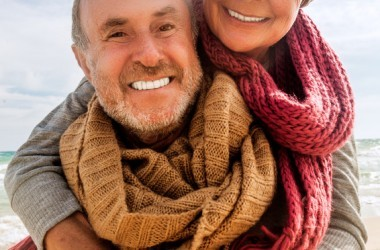 Mature couple with white bright healthy smiles