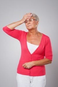 Senior woman with fatigue exhaustion