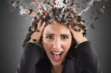 Stressed woman with exploding smoking head needs to relieve chronic stress hormone levels and anxiety harming heart