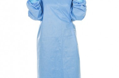 Woman avoids superbug in mask gloves and surgical gown