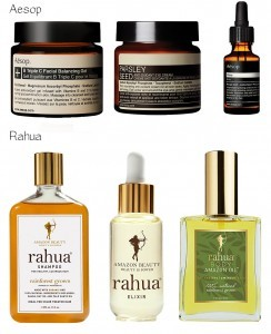 Aesop and Rahua natural beauty products