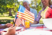 Family having a fun and safe Fourth of July celebration