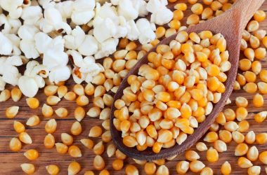 Homemade healthy popcorn made on the stove and popcorn kernels
