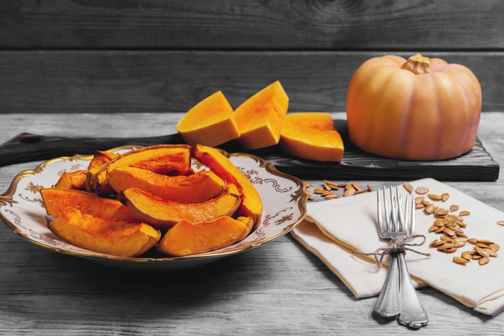 Roasted pumpkin slices delicious and nutritious