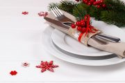 Fork knife and plate place setting ready for holiday parties