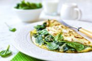 Spinach and mozzarella omelet which could help shield against type 2 diabetes
