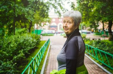 Active senior woman in park fighting aging and brain damage