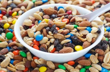 Trail mix in bowl can harm your eating healthy efforts