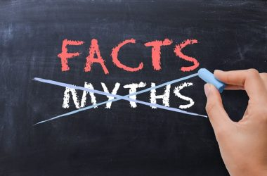 Close up of facts myths written on chalkboard to illustrate diabetes myths