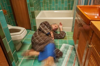 Senior man fell in bathroom but can makes changes to prevent falling in future