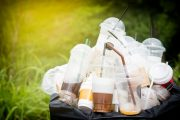 Trashcan of plastic containers which lead to microplastics in the body
