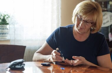 Senior woman checking blood sugar takes SGLT2 inhibitors