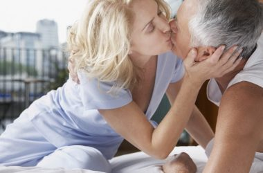 Older couple kissing in bed ready for sex due to better erections