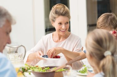 Happy senior woman fighting off depression and frailty with Mediterranean diet food