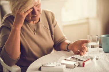 Woman about to take an anxiety pill is in danger of overdose