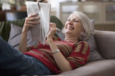 Senior woman who has stopped memory problems by doing a crossword puzzle