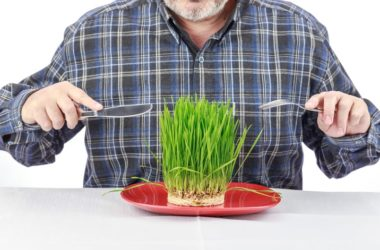 Close up of man with prostate cancer about to eat grass on a plate