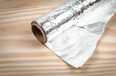 Aluminum foil on a wooden counter