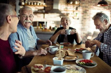 Seniors having a hearty breakfast for faster weight loss