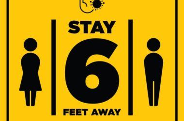 Social distancing warning sign says stay 6 feet apart