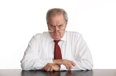 Grumpy frowning senior man may have less risk of cognitive decline