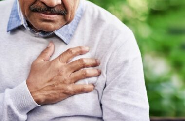 Close up of senior man experiencing heart issues after taking azithromycin