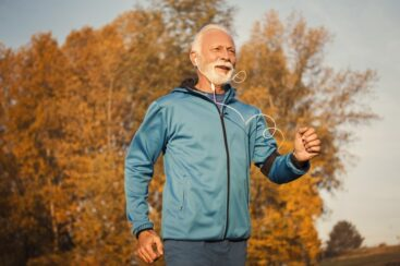 Senior man reducing stress anxietyby walking to boost immune system