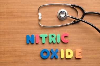 Nitric oxide spelled out in magnets with a stethoscope
