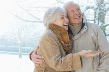 Senior couple smiling in snow are protecting themselves from the coronavirus