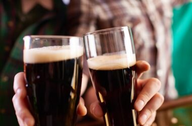 Two glasses of heart and brain friendly stout beer