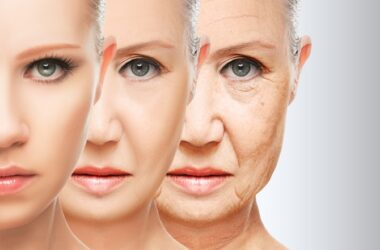 Illustration of reversing aging with older woman to younger